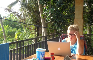 Barb working on her blog
